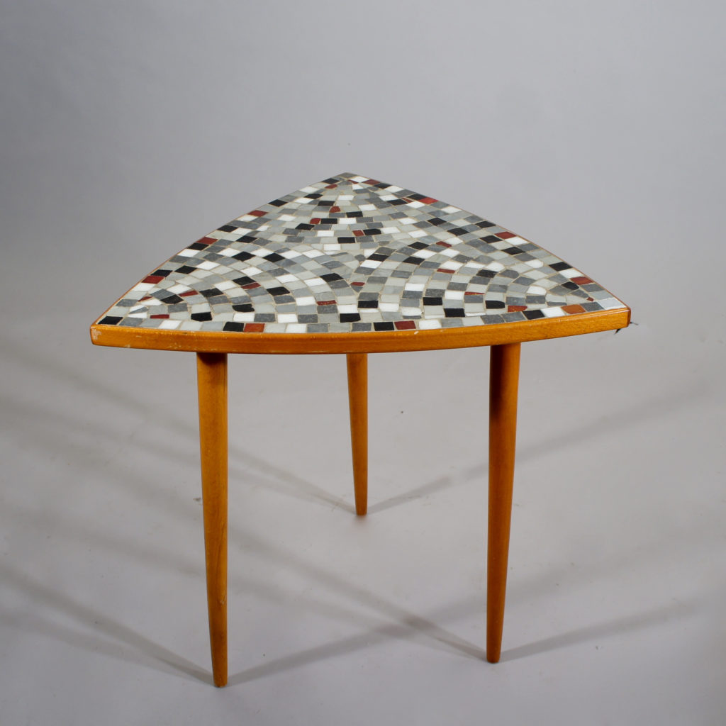 Side table in beech with mosaic top. Lenght 45, height 50 cm.
