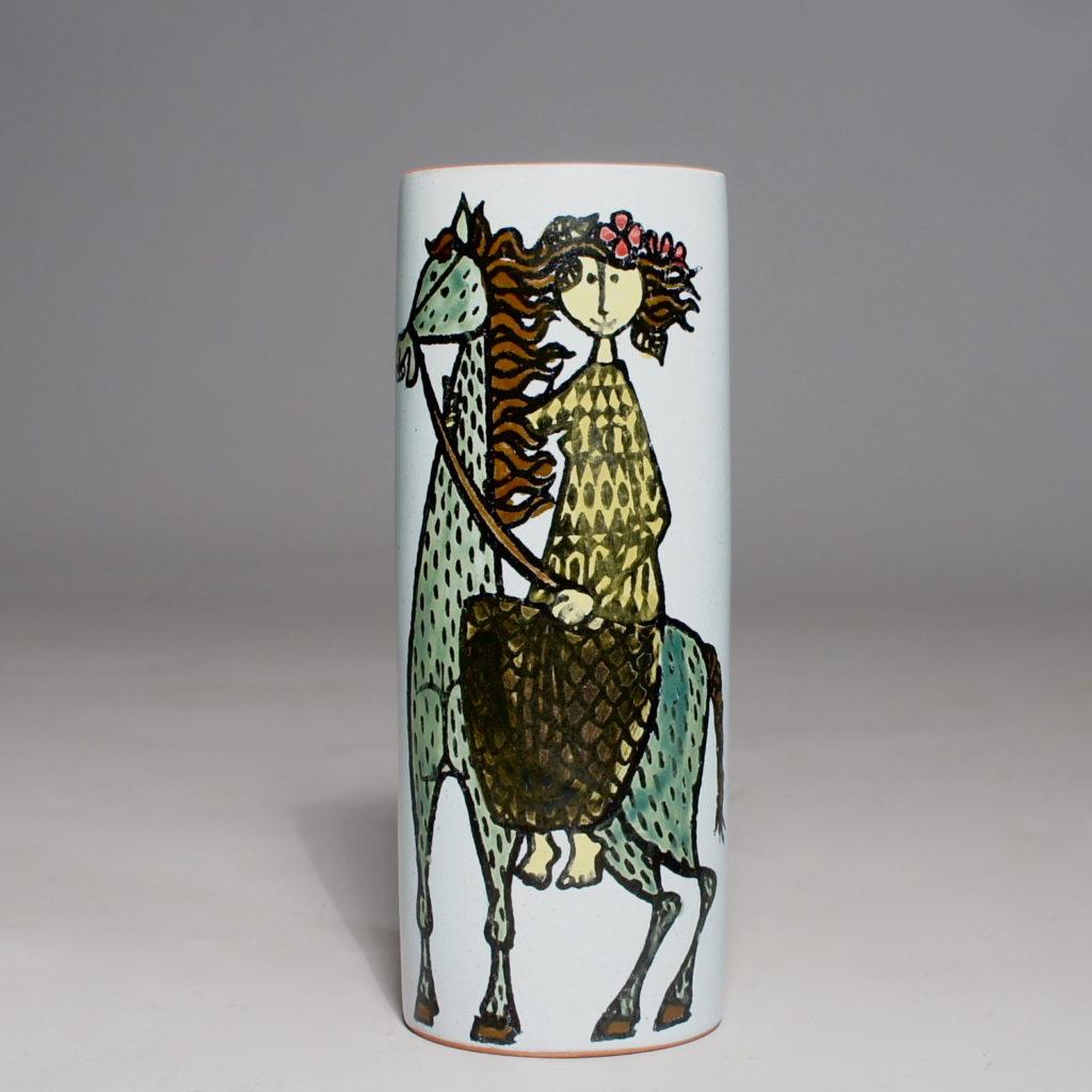 "Stig Lindberg for Gustavsberg, Sweden. ""Karneval"" Vase in faience with decoration. Height 15 cm."
