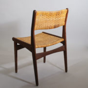 Four teak chairs in teak with seats and back in rattan. Made in Denmark. Partly renovated.