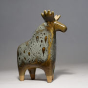 Lisa Larson for Gustavsberg, Sweden. Moose in stoneware with glossy glaze. Lenght 23, height 26 cm.
