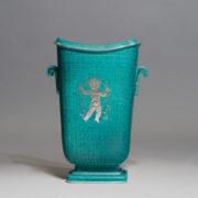 "Wilhelm Kåge for Gustavsberg. ""Argenta"". Ceramic urn with silver decoration. Height 25 cm."
