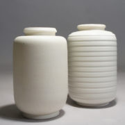 "Wilhelm Kåge for Gustavsberg, Sweden. ""Carrara"". Two different vases in stone ware with matte glaze. Height 16 cm."