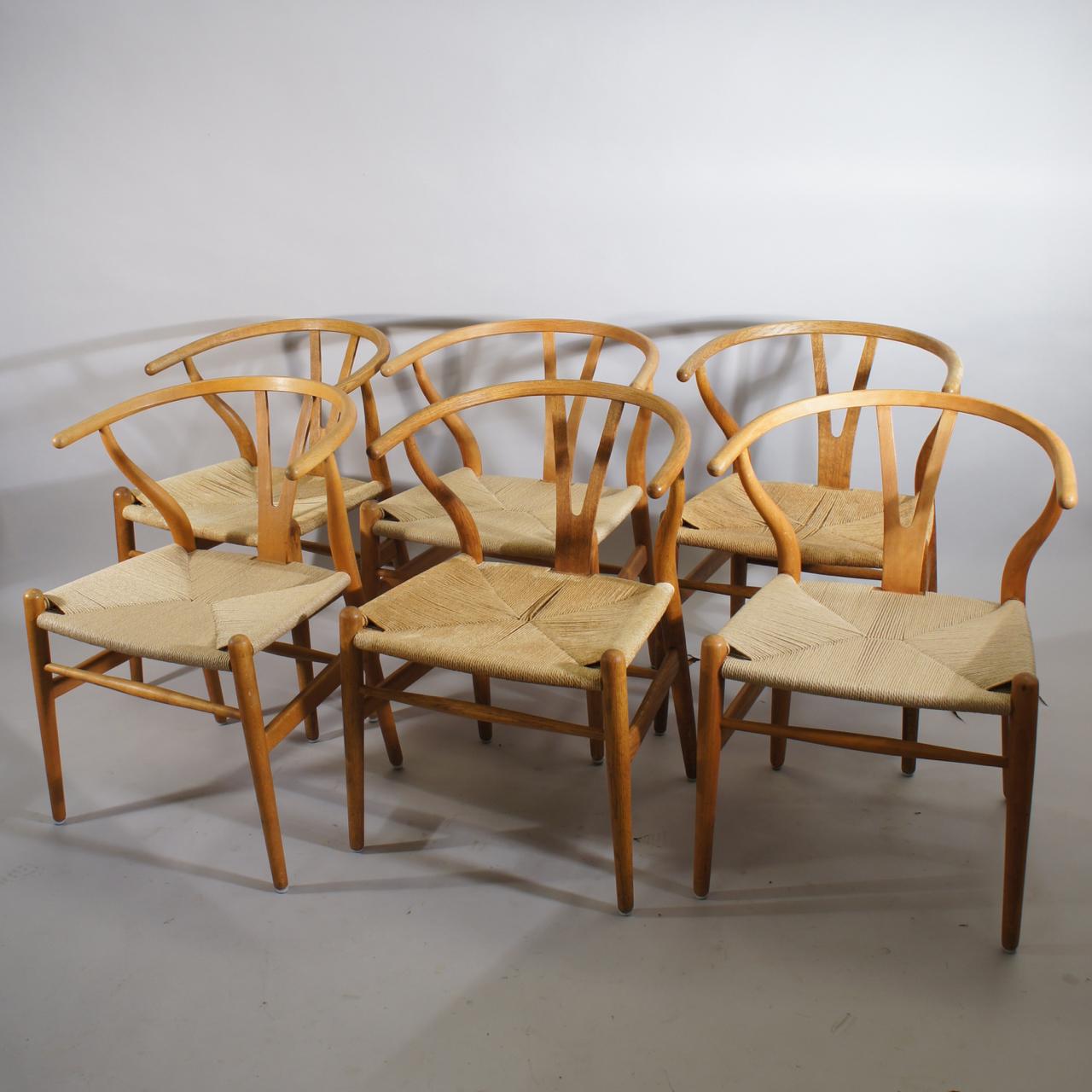 6 wishbone y chairs by hans j wegner sold wigerdals värld