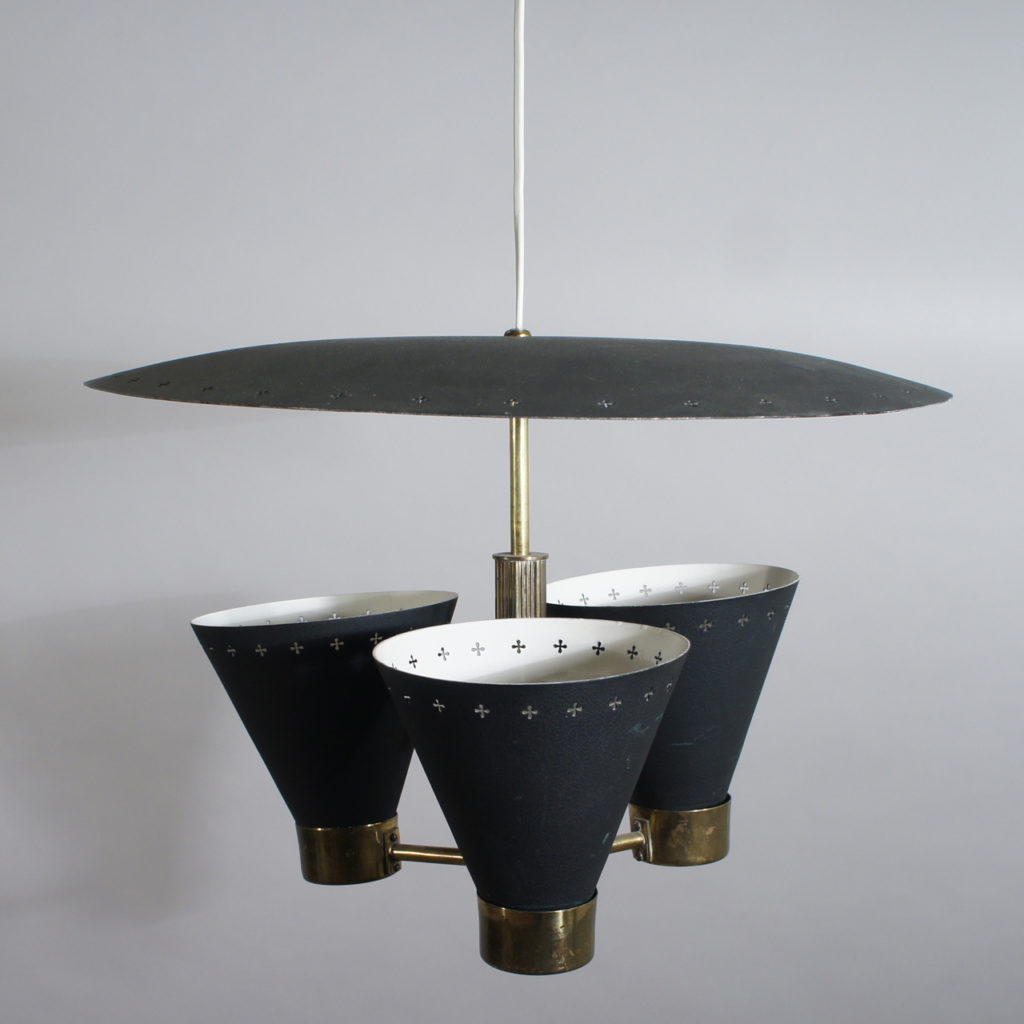Ceiling lamp with metal shades. Diam 45, height 31 cm. Maker unknown.