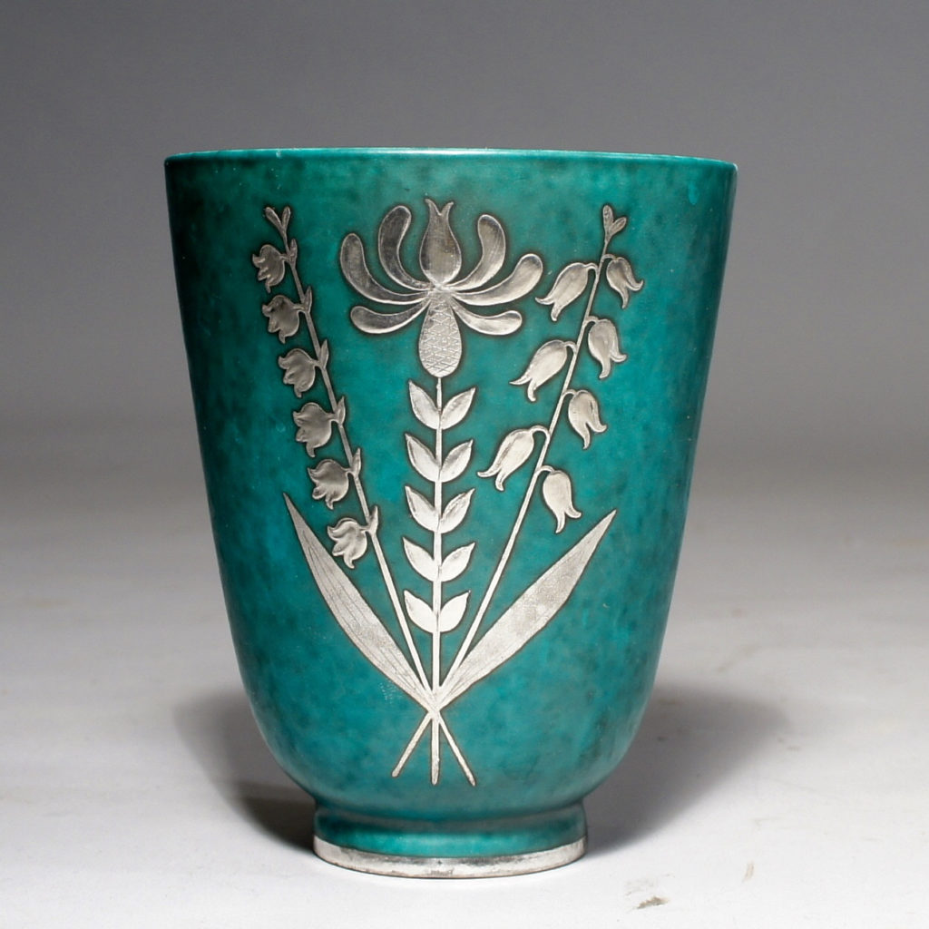 "Wilhelm Kåge for Gustavsberg, Sweden. ""Argenta"".Vase in stoneware with silver decoration. Height 13 cm."