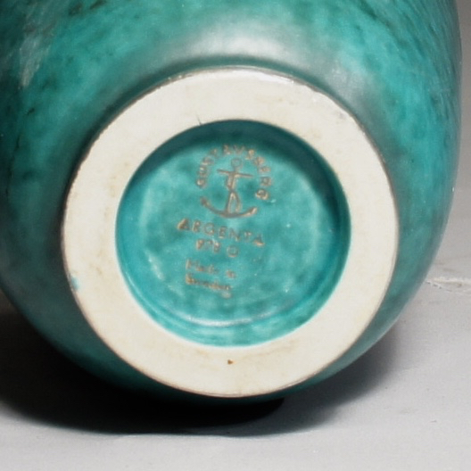 "Wilhelm Kåge for Gustavsberg, Sweden. ""Argenta"".Vase in stoneware with silver decoration. Height Height 13 cm."