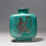 Wilhelm Kåge for Gustavsberg, Sweden. Vase in stoneware with silver decoration. Height 19,5, width 15, depth 9 cm.