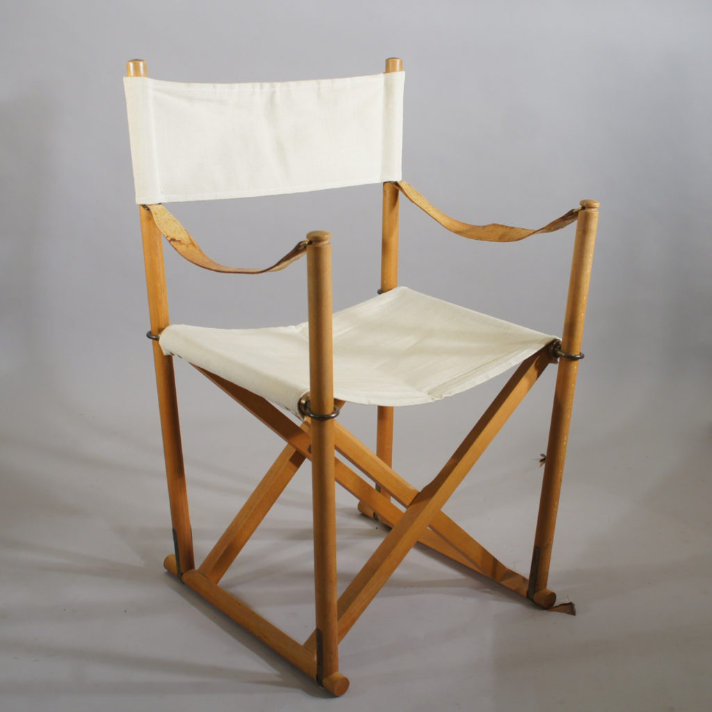 "Mogens Koch / Källemo, Sweden. ""M16"". Folding chair in beech, leather and canvas."