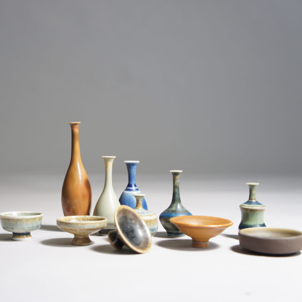 John Andersson for own workshop, Höganäs. Miniatures in stoneware. Height 2-7 cm.