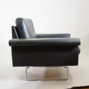 Easy chair in black leather and steel legs by Asko, Finland. W 100 D 76 H 74 SH 40 cm.