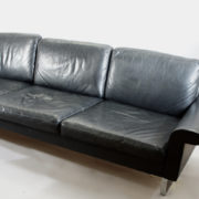 Sofa by Asko, Finland in black leather with legs in steel. 1960's. L230 D76 H74 SH40 cm.