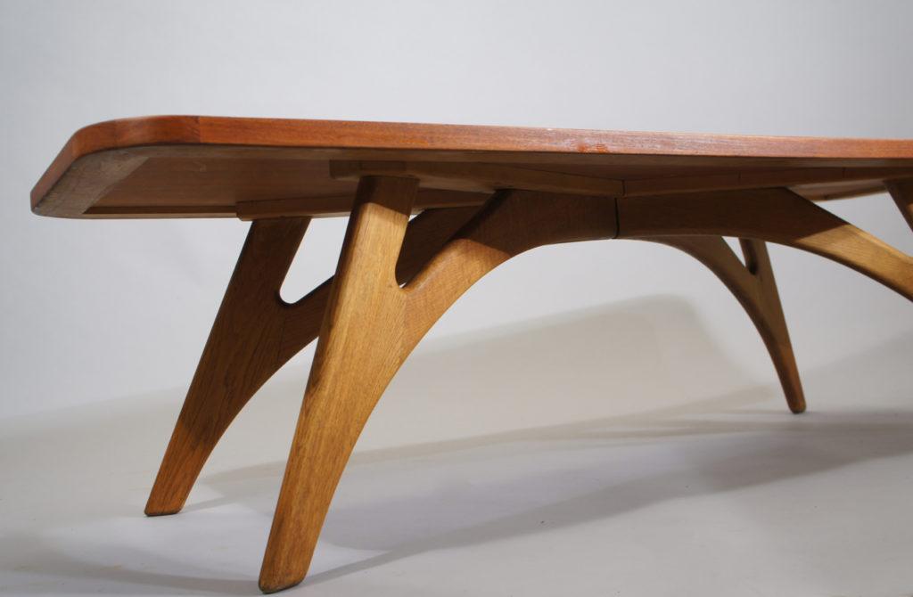 Coffee table in teak with legs in oak by Jason Møbelfabrik, Denmark. 150x55, height 43 cm.