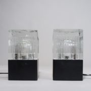 Desk lamp in metal and glass shades. 1970's