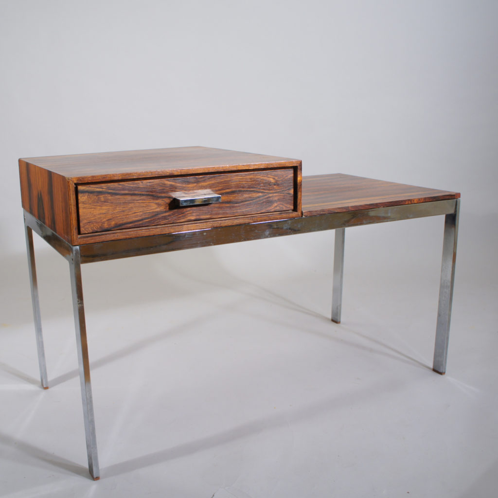 """Gillis Lundgren for Ikea """"Alpacka"""". Bench with drawer in rosewood and legs of crome steel. 1960's."""
