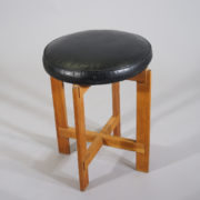 Östen & Uno Kristiansson for Luxus, Sweden. Stool in oak with seat in leather.