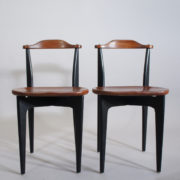 """Yngve Ekström for Swedese, Sweden. 1954 """"Thema"""". A pair of side chairs in teak and painted wood."""