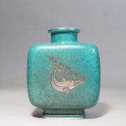 "Wilhelm Kåge for Gustavsberg, Sweden. ""Argenta"". Urn in stoneware with silver decorations."
