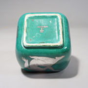 """Wilhelm Kåge for Gustavsberg. """"Argenta"""". Urn with lid in green stoneware with decoration in silver paint."""