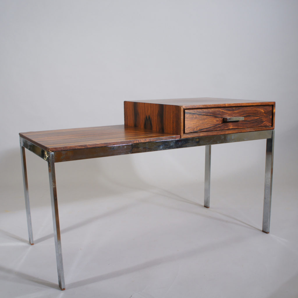 "Gillis Lundgren for Ikea ""Alpacka"". Bench with drawer in rosewood and legs of crome steel. 1960's."