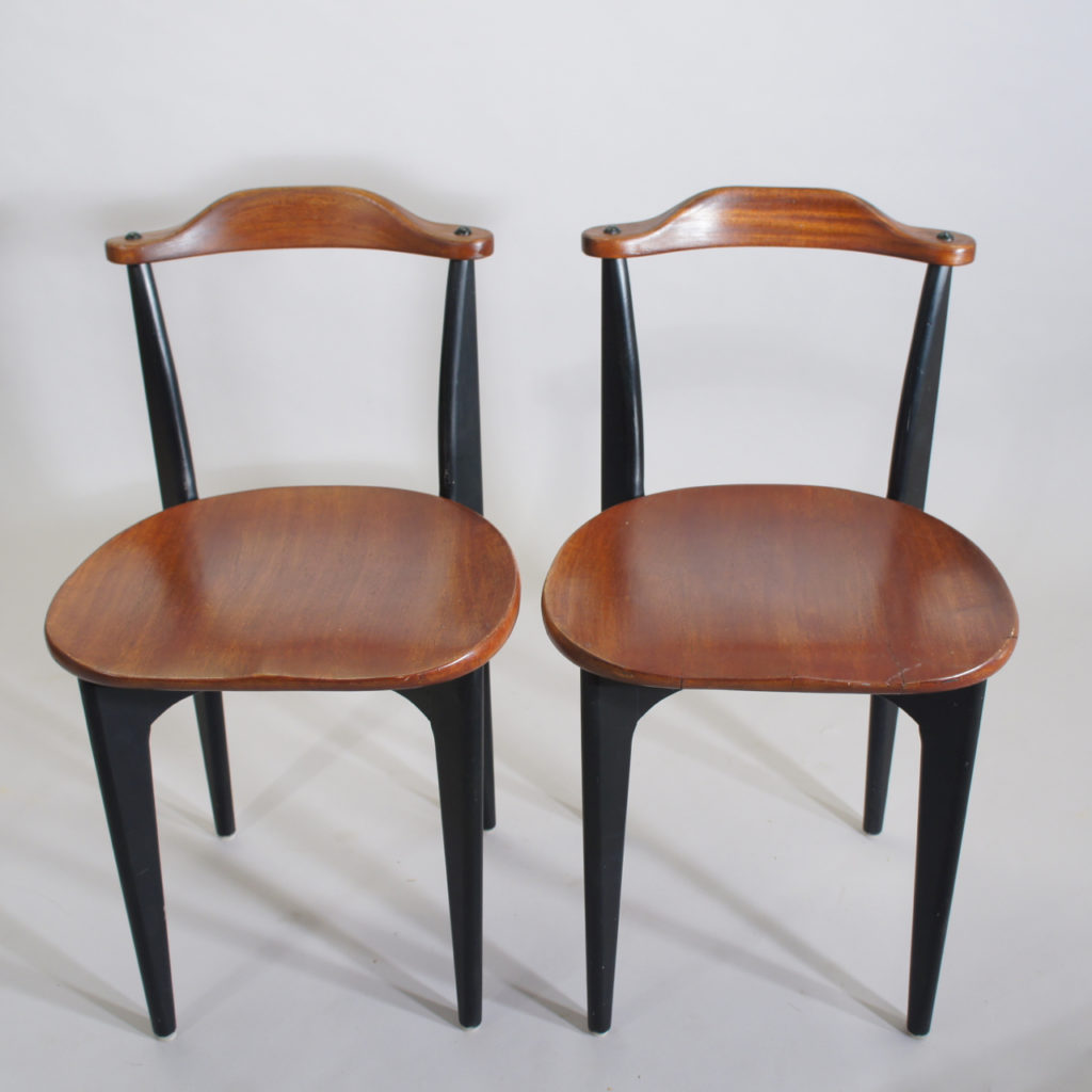 "Yngve Ekström for Swedese, Sweden. 1954 ""Thema"". A pair of side chairs in teak and painted wood."