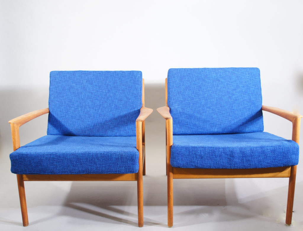 "Folke OlFolke Ohlsson for Dux, Sweden. ""USA 75"". Easy chairs in teak with new seatings with vintage wool fabric and new rubber bottom."
