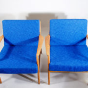 "Folke Ohlsson for Dux, Sweden. ""USA 75"". Easy chairs in teak with new seatings with vintage wool fabric and new rubber bottom.er"