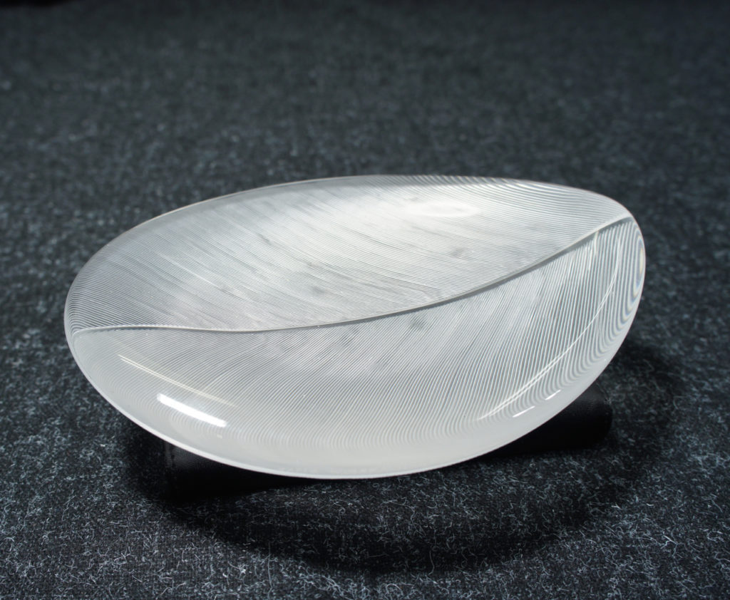 Tapio Wirkkala for Ittala. Glass bowl with comb cut patterns. Signed with name and maker.