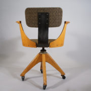 Deskchair in oak and new upholstered seat and back. 1920's. Maker unknown.