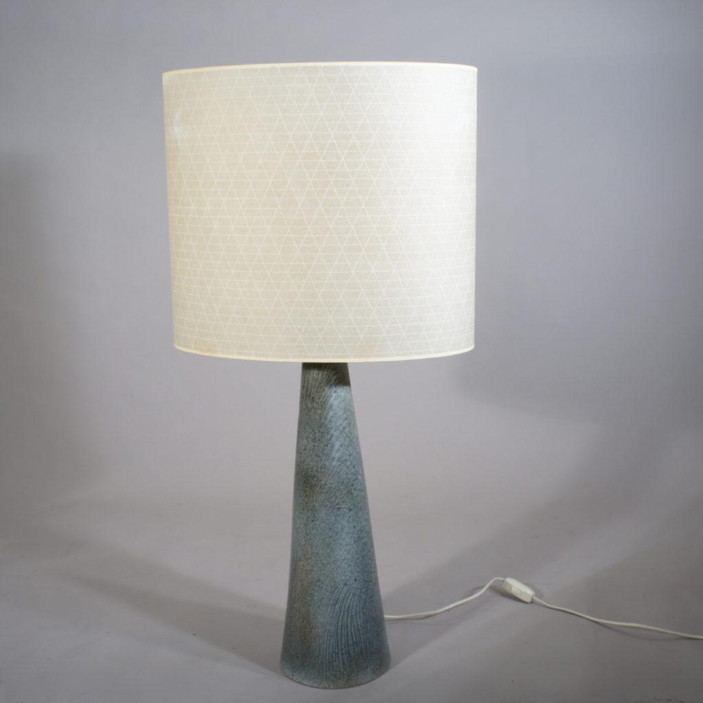 "Floor lamp in ceramic with shade in vinyl. ""Fej"" - Sweden."