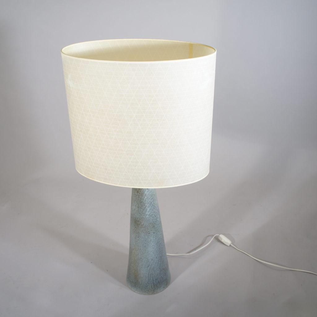 "Floor lamp in ceramic with shade en vinyl. ""Fej"" - Sweden."