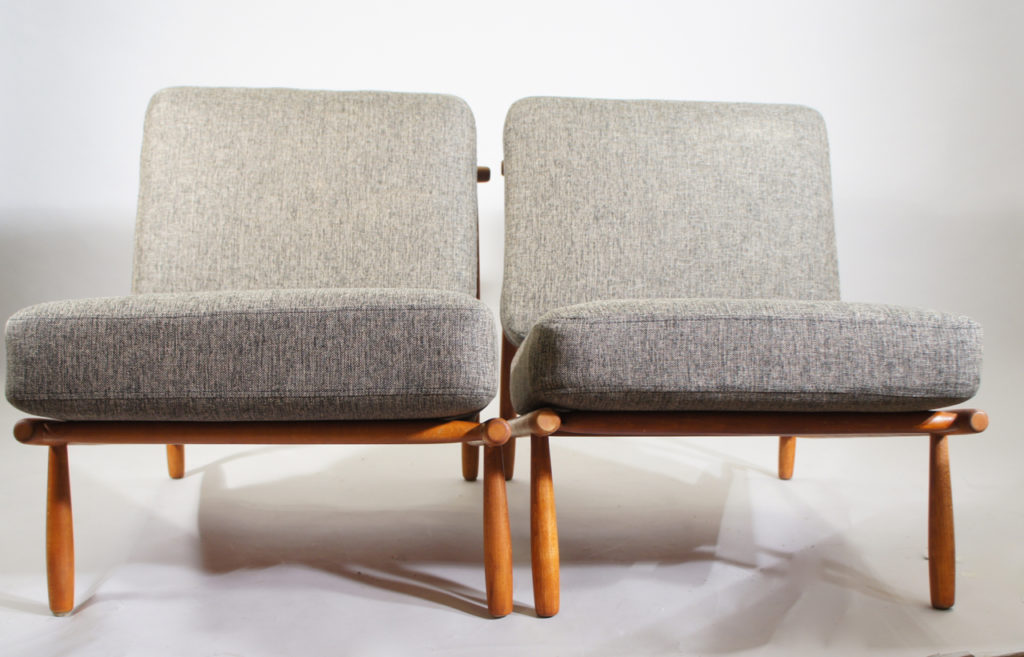 """Alf Svensson for Dux, Sweden. """"Domus"""". A pair of easy chairs i teak with new upholstered seatings."""