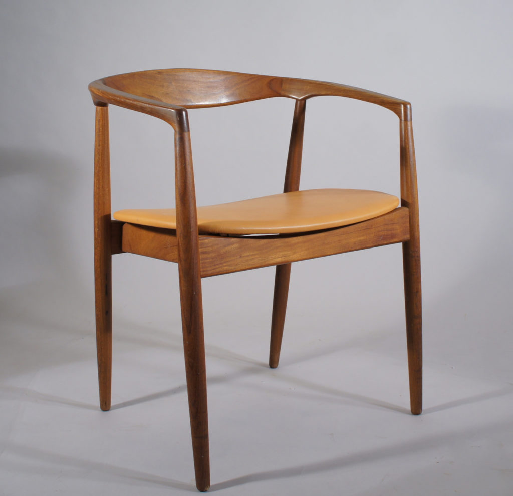 Kai Kristiansen for Ikea 1960s. Armchair in solid teak and new seat in leather. & Kai Kristiansen for Ikea.