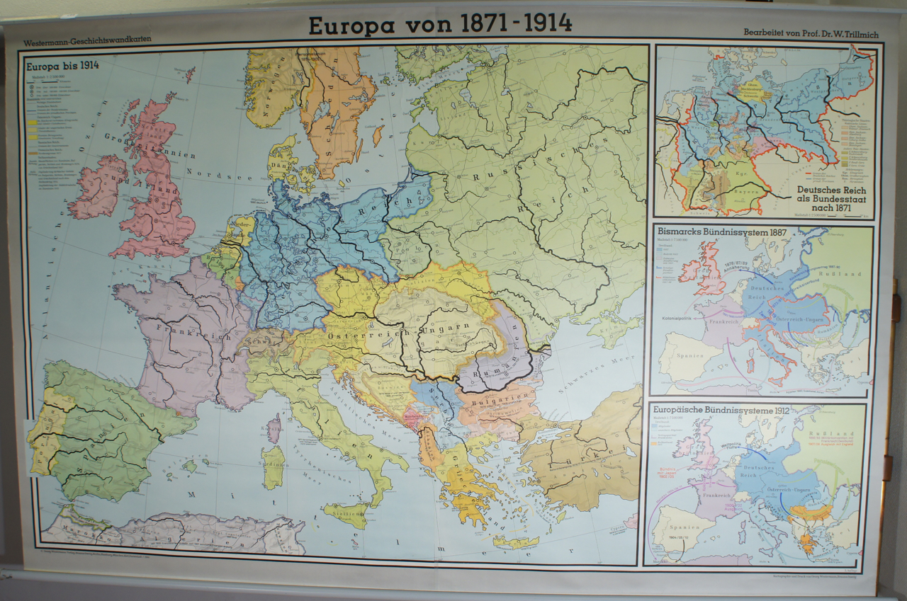 School Map Of Europe 1871 1914 Wigerdals Varld