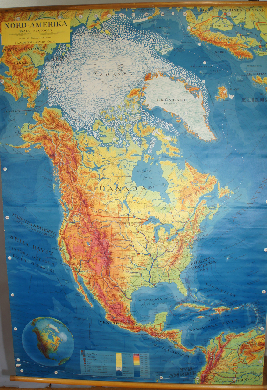 North America And Canada Map.1950 S School Map Over North America Canada Wigerdals Varld